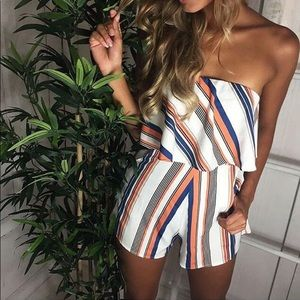 Pants - Adorable strapless striped romper
